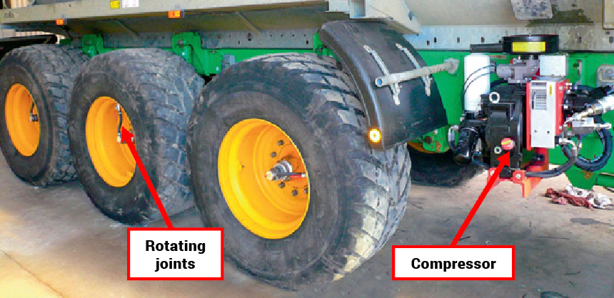 Remote inflation system installed on a triple axle trailer