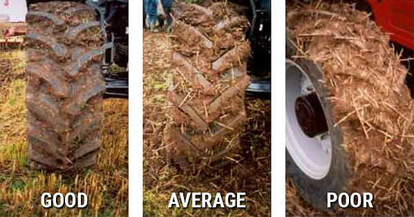 Examples of agglomerated soil between the tyre bars