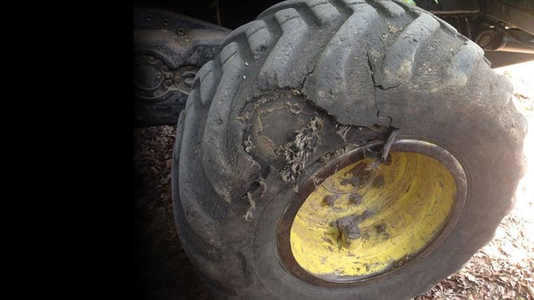Worn tractor tyres
