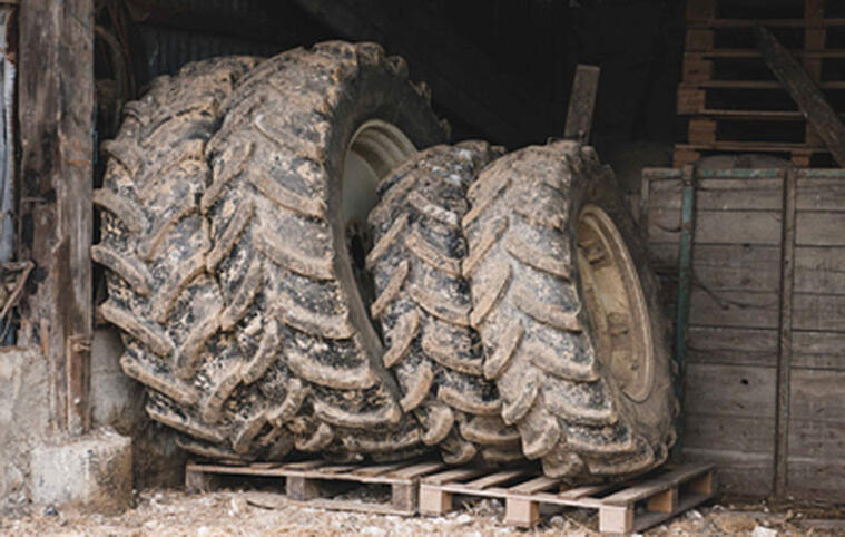 Agricultural tyre storage