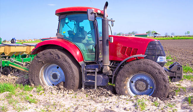 Tractor stuck in slippage